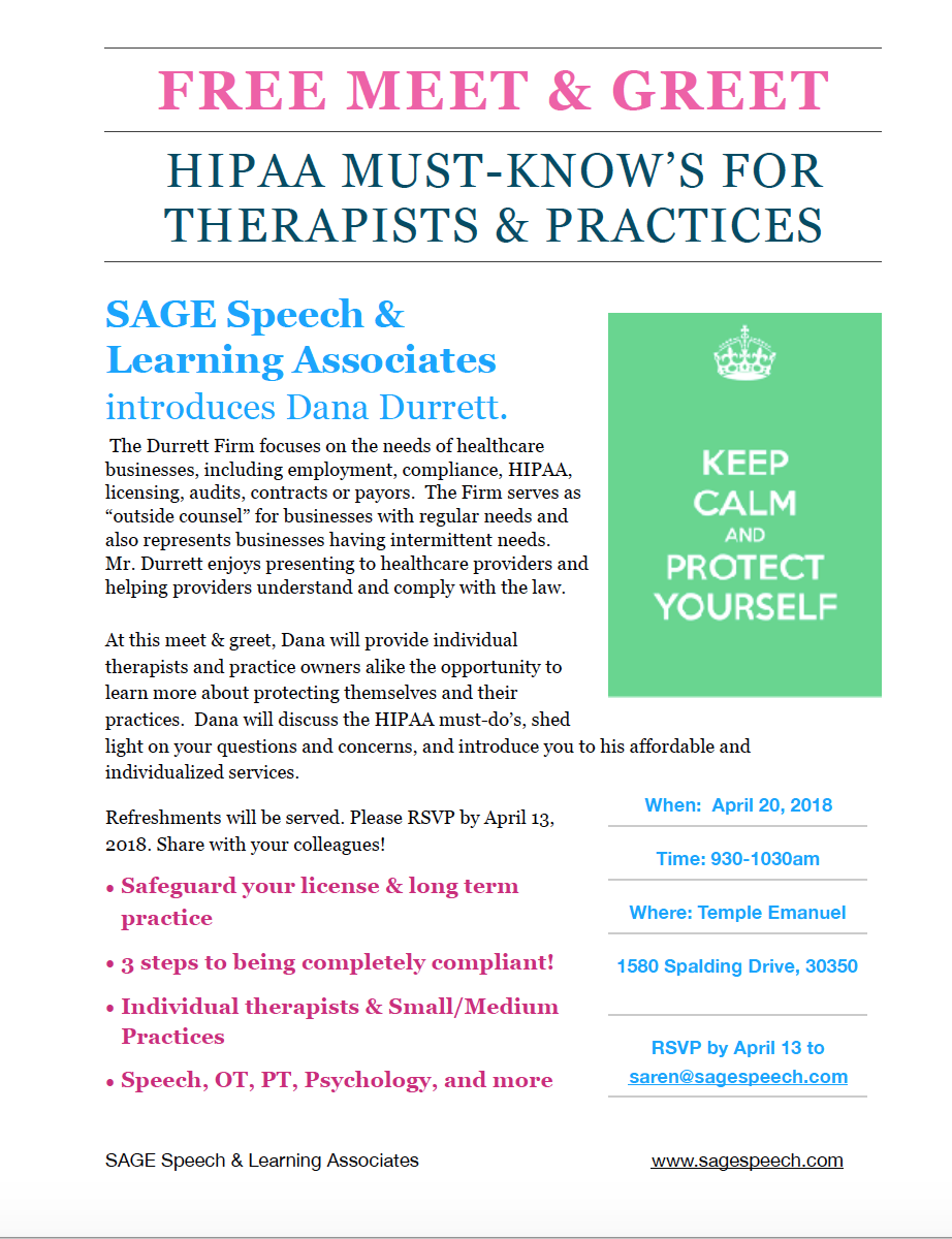 Hipaa compliance and the small therapy practice in atlanta sage to come in the way he helped sage speech learning associates in just one morning if you would like to attend please email sarensagespeech m4hsunfo